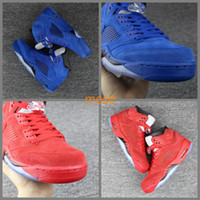 Wholesale New Air Retro V Raging Bull Red Suede Blue Reflective Men Basketball Shoes Sports Sneakers Size