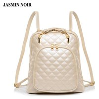 Wholesale laptop bags for women girls - Wholesale- Fashion women's shoulder bag Quilted beige leather back pack college brand laptop Backpack female school bags for teenage girls