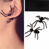2017 Hot atacado 1Pc New Fashion Womens Halloween Black Spider Charm Ear Stud Earrings Jóias Casual Party Birthday Gift