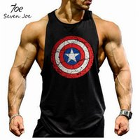 Wholesale Superman T - GYM Muscle Brother Vest Sports Vest Solid Solid Vest Fitness Men T-shirt Tank Tops Superman US Captain Blank Cotton Red Gold Men's T-shirt