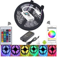 Wholesale Mini Diode - 5050 rgb waterproof led strip fita de tiras mini IOS Android 24 key remote wifi controller diode tape 12v 5a led adapter