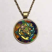 Wholesale Bronze Love Charms Pendants - 8 styles personality Colorful Pentagram vintage bronze Wicca glass Pendant Necklace Occult charm necklaces pendants