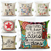 Wholesale Office Couches - vintage letters cushion cover love quote couch sofa throw pillow case numbers life words almofada creative home office decor