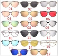 Wholesale Display Goggles - Hot seller ladies' fashion cat eye glasses outdoor sports protection UV400 display sunglasses metal frame free delivery of 17 colors