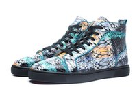 Wholesale Colorful Mens High Top Shoes - New 2017 Mens Womens Colorful Snakeskin Leather High Top Red Bottom Sneakers,Brand Flat Boots Casual Shoes 35-47 Drop Shipping