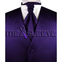 Wholesale Men S Grooming Set - Wholesale- dark purple groom Tuxedo Waistcoat Sleeveless sets