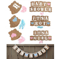 Wholesale photo banners - Kraft Paper Baby Shower Banner Its A Boy Girl Birthday Party Garland Baptism Nursery Christening Decos Paper Baby Room Photo Booth Props