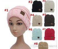 Wholesale China Children Caps - Unisex CC Trendy Hats Winter Knitted Beanie CC cap Label Winter Knitted Wool Cap children Folds Casual CC Beanies Hat Solid Hat Arts and Cra