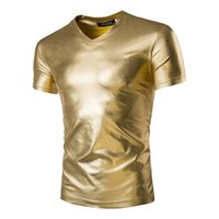 MGA086 Männer Fashion Club Performance Wear Leder-wie Shiny Metallic Gold Silber Schwarz Kurzarm T-shirt Tee Top