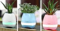 Wholesale Hot Bluetooth Smart Touch Music Flowerpots Plant Piano Music Playing Wireless Flowerpot colorful light mini Flower pots whitout Plants