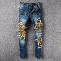Wholesale blue colored pencils - Men's Biker Jeans US Size 28~42 Slim Fit Motorcycle Biker Denim For Men Brand Designer Hip Hop Mens Jeans 995