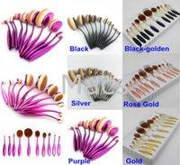Wholesale Golden Teeth - Silver 1set=10piece Makeup Brush Set Tooth Brush Shape Oval Purple Rose gold golden Professional Foundation Powder makeup brushes kits