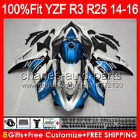 ingrosso yamaha r25-gloss blu 8gifts iniezione per YAMAHA YZF R25 R3 14 15 16 YZFR3 YZFR25 97NO60 R 3 YZFR3 YZFR25 R25 R3 2014 2015 2016 blu Carena bianca