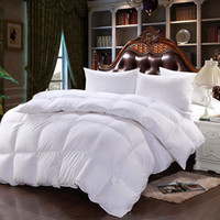 Wholesale White Down King Size Comforter - 2016 New Pure Cotton Fabric Down Comforter Thicken Winter White Duck Down Quilt Twin Full Queen King Size 3 Colors