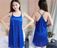 Wholesale Seductive Wear - Women Summer Sexy seductive leisure wear lady super thin sleeping dress ice silky cooling comfortable skirt with shoulder-straps wholesale