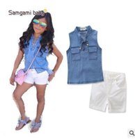 Wholesale Chinese Denim Brands - Ins Clothes Baby Girl Kids Denim Bandage Tops White Shorts Outfits Girls Boutique Clothing Baby Girls Clothing Set Princess Kids Clothes 754
