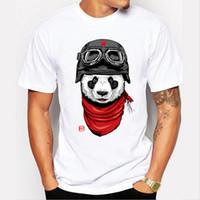 Wholesale Panda Tee Shirts - Newest 2018 men's fashion short sleeve cute panda printed t-shirt Harajuku funny tee shirts Hipster O-neck cool tops
