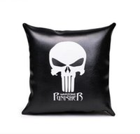 One Piece Skull Cuscino in pelle nera Punk Rocker Skull Pillow Cover per Divano Cuscino Decorativo per la casa PU Cuscino Cojines