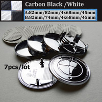 Wholesale Car 82mm - Wholesale 7pcs Carbon Fiber Black White Car steer wheel Center Logo Boot Emblem Head Hood  Bonet Trunk Cover Auto wheel Cap 82MM 78M 74MM