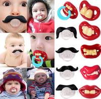 yenilik çocukları toptan satış-Sevimli Komik Aptallar Emzik Bebek Yenilik Analık Toddler Çocuk Diş Çıkarma Nipeller komik Bıyık diş Emzikler KKA2387