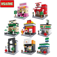 Wholesale mini architecture - HSANHE Brick Mini Building Blocks Architecture Nanoblockse Kids toys Educational Compatible Toys for Children Christmas