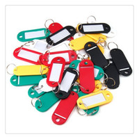 Wholesale Keyring Labels - 2016 Hot Colorful 30Pcs Lot Key ID Label Plastic Keychain Key Tags ID Label Tags Split Ring Keyring Keychain