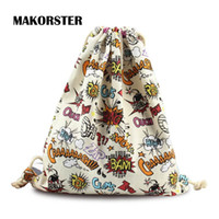 Wholesale Wholesale Printed Canvas Cheap - Wholesale- Fashion Letter pattern women backpack bag drawstring bagpacks Canvas backpacks & carriers cheap printing feminine backpack FBDBZ