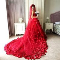 Wholesale pink corset lace skirt - 3D-Floral Applique Red A-Line Tulle Wedding Dresses Sweetheart Corset Backless Chapel Train 2017 Chapel Wedding Bridal Gowns Plus Size Cheap