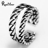 Wholesale Double Finger Chain Rings - New Vintage 925 Sterling Silver Rings for Women Men Jewelry Fashion Double Chain Anel Feminino Finger Ring Accessories 2017