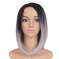 sentetik materyaller toptan satış-Mtmei Saç Kısa Bob Peruk Sentetik Malzeme Tam Makine Yapımı Için Tutkalsız Ombre Gümüş Gri Isıya Dayanıklı Saç Peruk Kadınlar