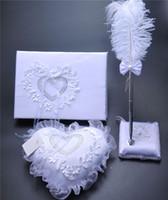 kalp gelin seti toptan satış-3 Adettakım Çuval Bezi Hessen Dantel Kristal Düğün Ziyaretçi Defteri Kalem Set Halka Yastık Jartiyer Dekorasyon Aşk Kalp Gelin Yüzük Yastıklar Düğün Malzemeleri