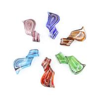 Wholesale Twist Lampwork - Handmade Twisted Leaf Lampwork Glass Pendants Mix Color Hot Sale for Necklace DIY 12pcs box, MC0019