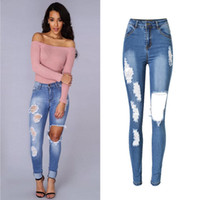 Wholesale- 2017 Top Design Sexy Women Brand Calças Jeans Bleached Hole Ripped Denim Fabric Pants Jeans High Waist Sex Lady Long Leggings