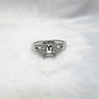 Wholesale Emerald Semi Mounts - Emerald Cut 5x6mm Solid 14Kt White Gold Natural Diamond Semi Mount Ring