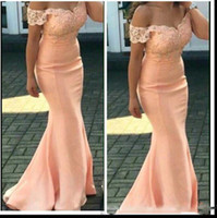 Wholesale drape lights weddings online - Bridesmaid Dresses New Cheap For Weddings Peach Cap Sleeves Lace Appliques Mermaid Floor Length Plus Size Formal Maid of Honor Gowns