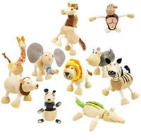 mois de jouets pour bébé en bois achat en gros de-Bébé Jouets En Bois Animaux Jouets Enfants En Bois Ferme À La Main 24 Animaux Jouets pour Bébé Mois Jouets Éducatifs En Bois