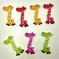 Wholesale Giraffe Wooden Buttons - Wooden Buttons 40mm giraffe 2 holes for handmade Gift Box Scrapbooking Crafts Party Decoration DIY Sewing draw Accessories