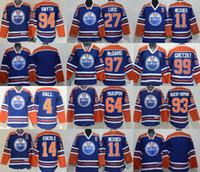 Wholesale Ms Ice - Edmonton Oilers jerseys Ms Ws ks Blue #27 Lucic#11Messier#97McDavid #99 Gretzky#4 Hall#64Yakupov#93 Nugent-Hopking #14 Eberle#94 Smyth&Blank