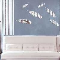 Wholesale Mirrored Bathroom Tv - feather 3D mirror wall stickers TV background Creative Home Decor DIYgold silver Removable Decoration Stickers 2017 wholesale Free delivery