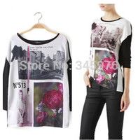 Wholesale Designer Casual Shirts Women - Spring New Fashion Character Floral Printed Knitted T-Shirt Women Long Sleeve Casual Pullover Clothing ZA* Brand Designer Tops