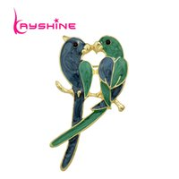 Wholesale Parrot Accessories - New Jewelry Luxury Brooch Gold plated with Green Enamel Couple Parrot Brooches for Lady Fashion Accessories