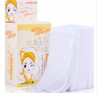 Wholesale Facial Cotton - Wholesale New 100 Pcs lot Practical Durable Makeup Cosmetic Facial Cleaning White Cotton Remover Pads Wipes