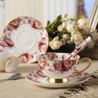 taza de porcelana de regalo al por mayor-Juego de taza de café de la taza de té de China de hueso con platillo y cuchara, para el hogar, restaurantes, regalo de Navidad para la familia o amigos