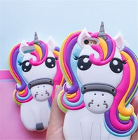 Wholesale Rainbow Silicone Case - 3D Cute Rainbow Unicorn Soft Silicone Cover For iPhone X 8 7 Plus 4 4S 5S 6 6S 6Plus Case