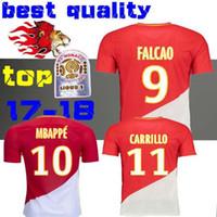 Wholesale Monaco Red - Thai Quality 2017 2018 AS Monaco soccer jerseys 17 18 MOUTINHO MBAPPE FALCAO Fabinho DIRAR Germain Carrillo football jersey shirts Lemar