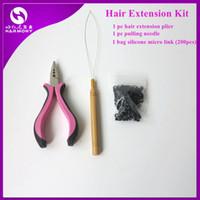 Wholesale Bead Plier Set - Wholesale-1 bag 200pcs Micro Links Beads+1pc Loop Pulling Needle+1pc Pink 3 holes Hair Extension Plier Hair Extensions Tool Kits Set