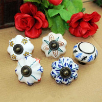 Wholesale Painted Cabinet Doors - Hand Painted rural ceramic furniture handles clour porcelain drawer shoe cabinet knobs pulls bronze kitchen cabinet door handles