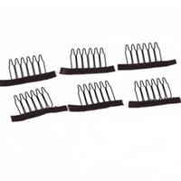 Wholesale cheap wholesale tools - 10pcs Wig Combs For Making Wigs 6 Teeth Brown Black Color Wig Clips Cheap Stainless Steel Hair Exensions Clips Tools Free Shipping