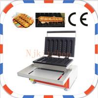 Wholesale waffle dog maker - Free Shipping Commercial Use Non Stick 110v 220v 6pcs 22cm Digital Waffle Dog on A Stick Maker Iron Baker Machine Mold