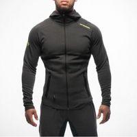 erkekler için spor kıyafeti toptan satış-Erkek Vücut Geliştirme Hoodies Spor Egzersiz Gömlek Kapüşonlu Spor Takım Elbise Eşofman Erkekler Chándal Hombre Gorilla Aşınma Hayvan